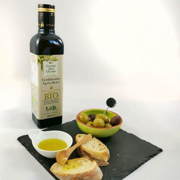 Olio Extravergine di Oliva BIO mit frischen Brot & Oliven